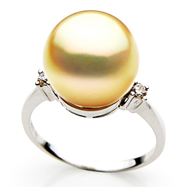 GR027 (AAA 12mm Australian Golden  South Sea Pearl Diamond Ring Gold)