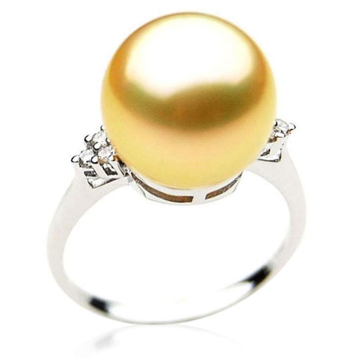 GR039 (AAA 13mm Australian Golden  South Sea Pearl Diamond Ring 18k White Gold)