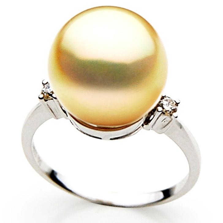 GR041 (AAA 13mm Australian Golden  South Sea Pearl Diamond Ring18k White Gold)