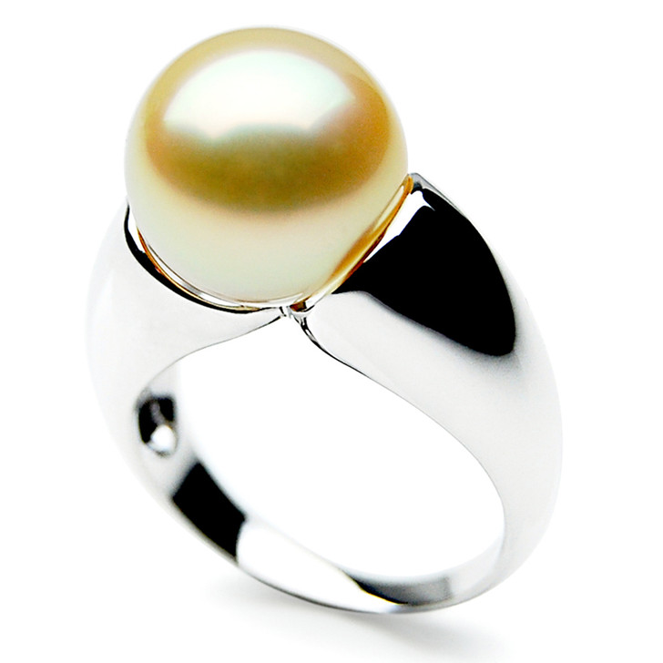 GR044 (AAA 13mm Australian Golden  South Sea Pearl Ring 18k White Gold)