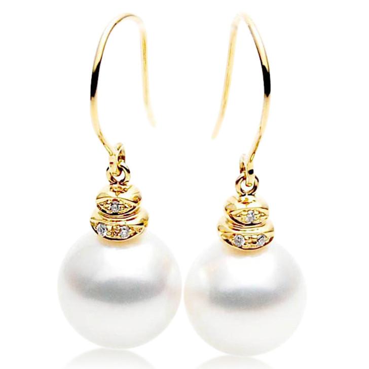 SE062   (AAA 12mm Australian South Sea Pearl Earrings Diamonds in 18k Gold)