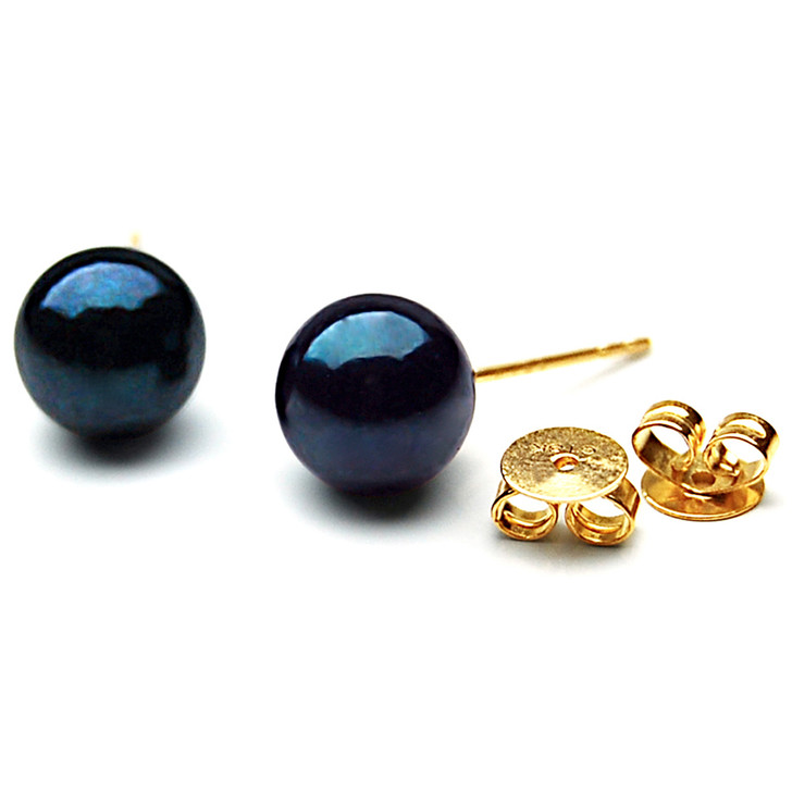 AE008  (AAA 7-7.5mm Black Japanese Akoya Saltwater Pearl Earrings 18K Gold