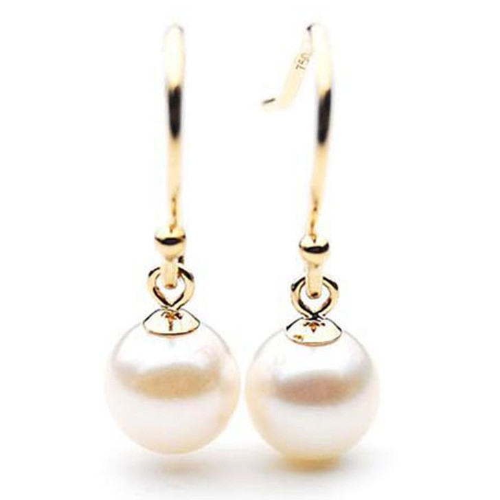 AE010 (AAA 7-7.5mm White Japanese Akoya Saltwater Pearl Earrings 18K Gold