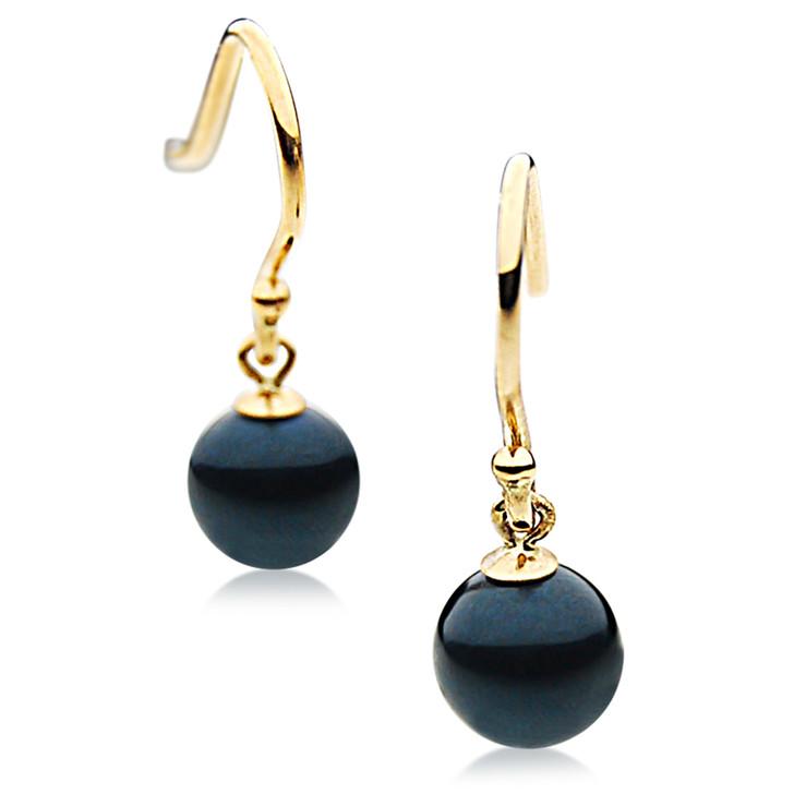 AE014 ( AAA 7-7.5mm Black Japanese Akoya Saltwater Pearl Earrings 18K Gold