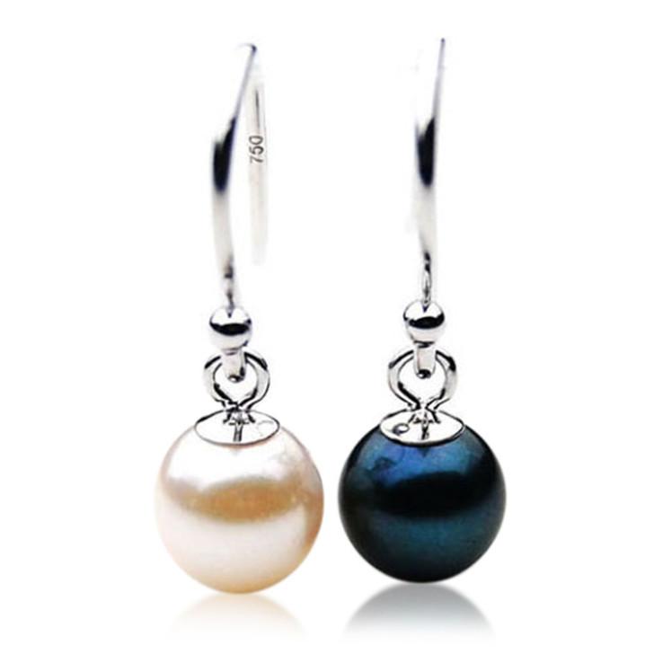 AE015 (AAA 6.5-7mm White ,Black Japanese Akoya Saltwater Pearl Earrings
