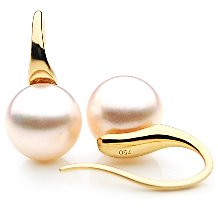 AE017 ( AAA 7-7.5mm White Japanese Akoya Saltwater Pearl Earrings 18K Gold