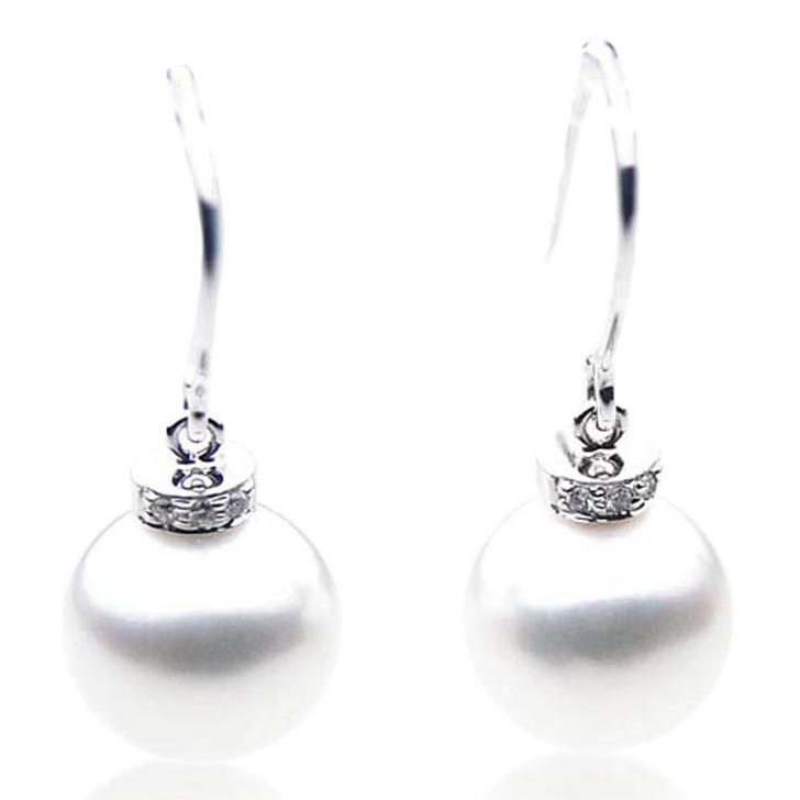 SE063   (AAA 12mm Australian South Sea Pearl Earrings Diamonds in 18k White Gold)