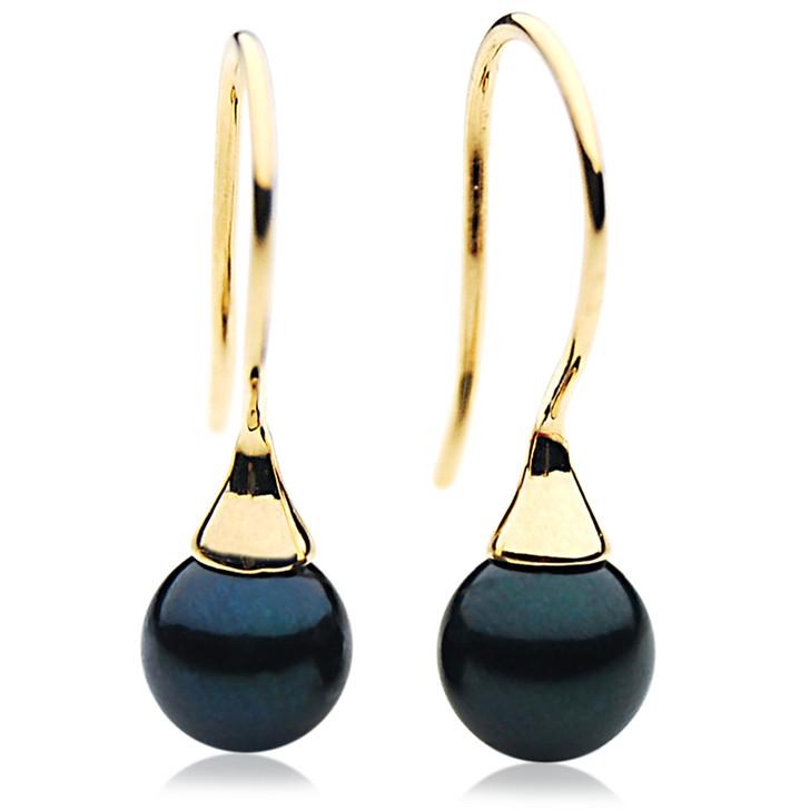 AE027 ( AAA 7-7.5 mm Black Japanese Akoya Saltwater Pearl Earrings 18K Gold