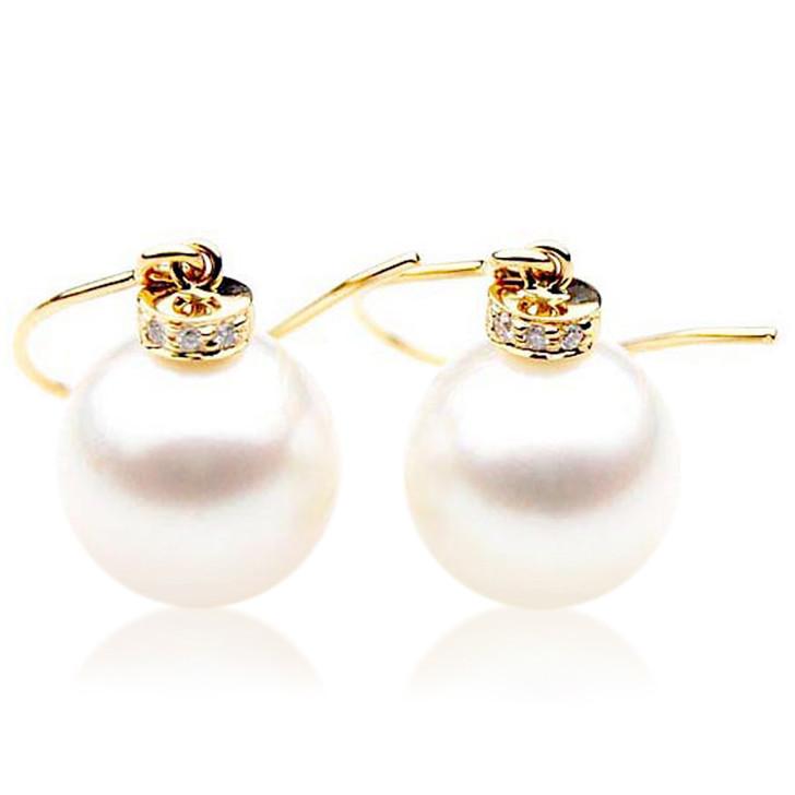 SE064   (AAA 12mm Australian South Sea Pearl Earrings Diamonds 18k Gold)