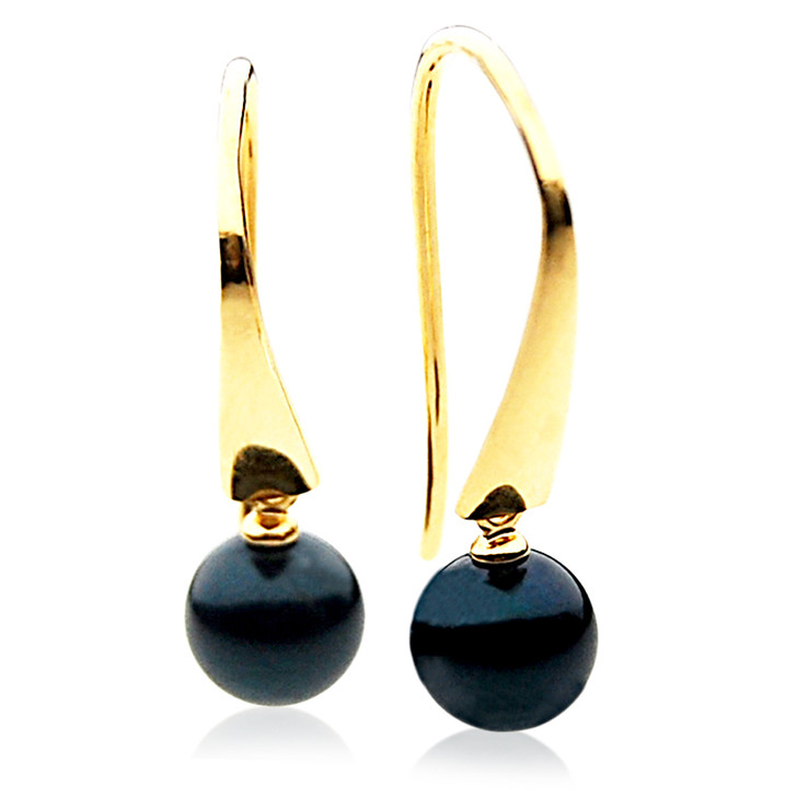 AE035 ( AAA 7-7.5mm Black Japanese Akoya Saltwater Pearl Earrings 18K Heavy Gold