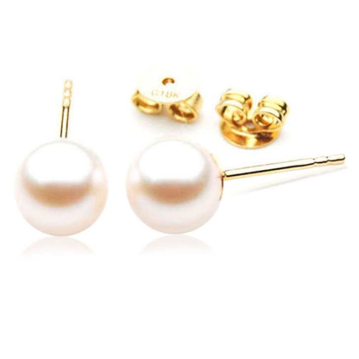 AE037  (AAA 7.5-8mm White Japanese Akoya Saltwater  Pearl Earrings 18K Gold