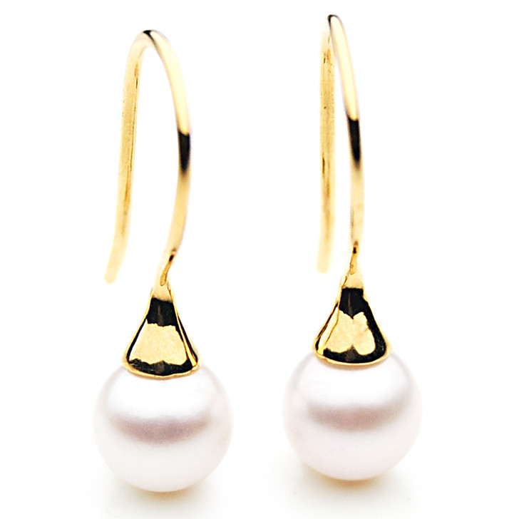 AE043 (AAA 7.5-8mm White Japanese Akoltwater Cultured Pearl  In 18K Gold)
