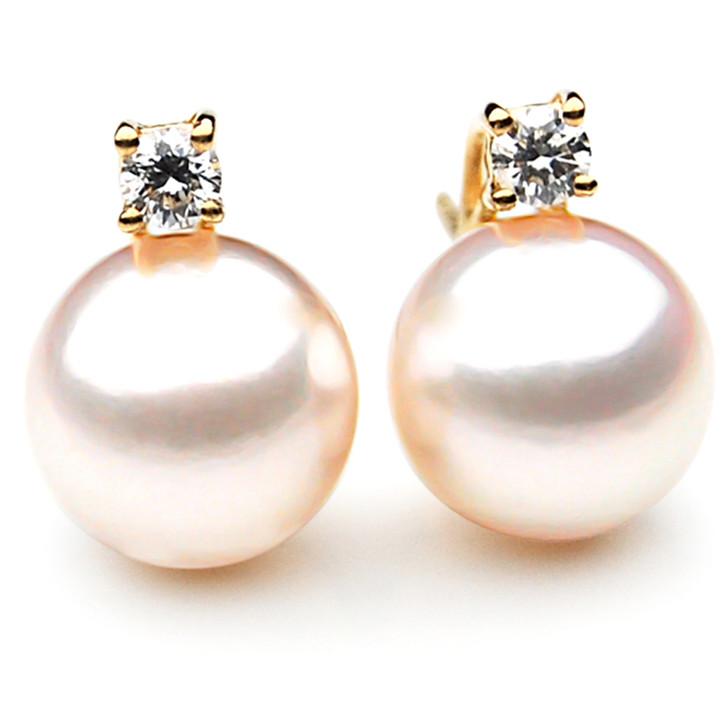 AE051 ( AAA 8-8.5mm Japanese Akoya Saltwater Diamond Pearl Earrings 18K Gold