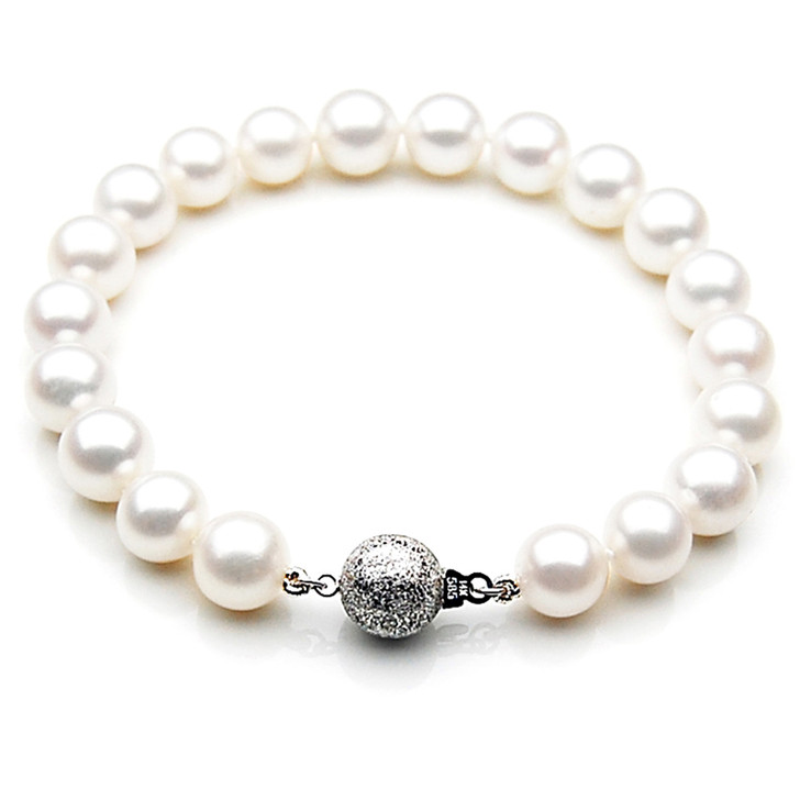 FB001 (AAA 9-10 mm Freshwater Pearl Bracelet 14k White gold clasp )