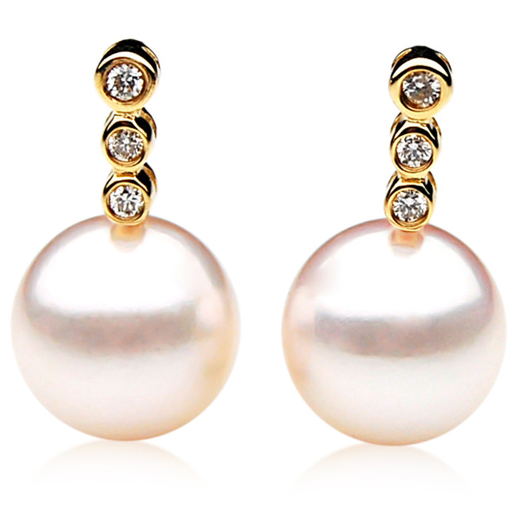 AE061 ( AAA 8.5-9mm Japanese Akoya Saltwater Diamond Pearl Earrings 18K Gold
