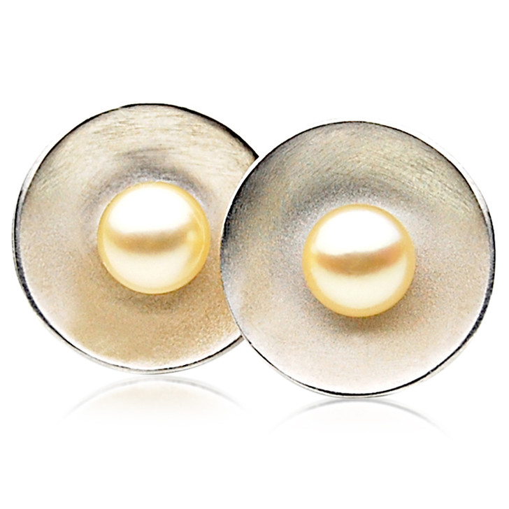 AE063 (AAA 7-7.5mm Golden Japanese Akoya Saltwater Pearl Earrings In Silver