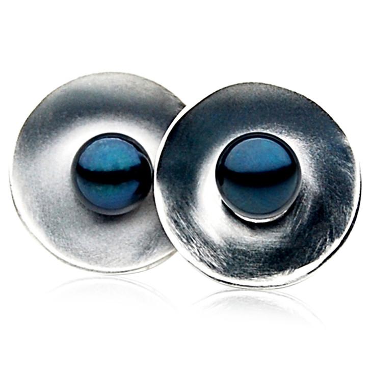AE064 (AAA 6.5-7mm Black Japanese Akoya Saltwater Pearl Earrings In Silver