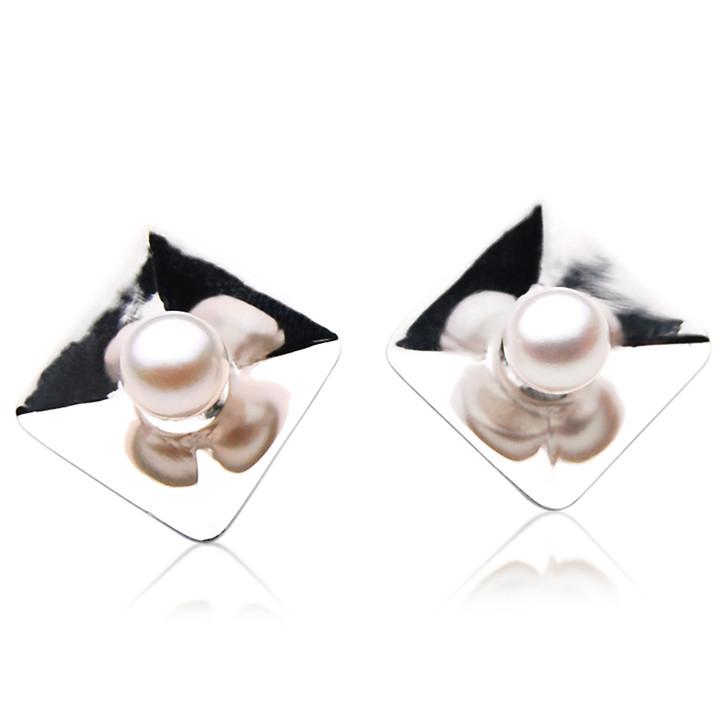 AE065  (AAA 7-7.5mm White Japanese Akoya Saltwater Pearl Earrings In Silver