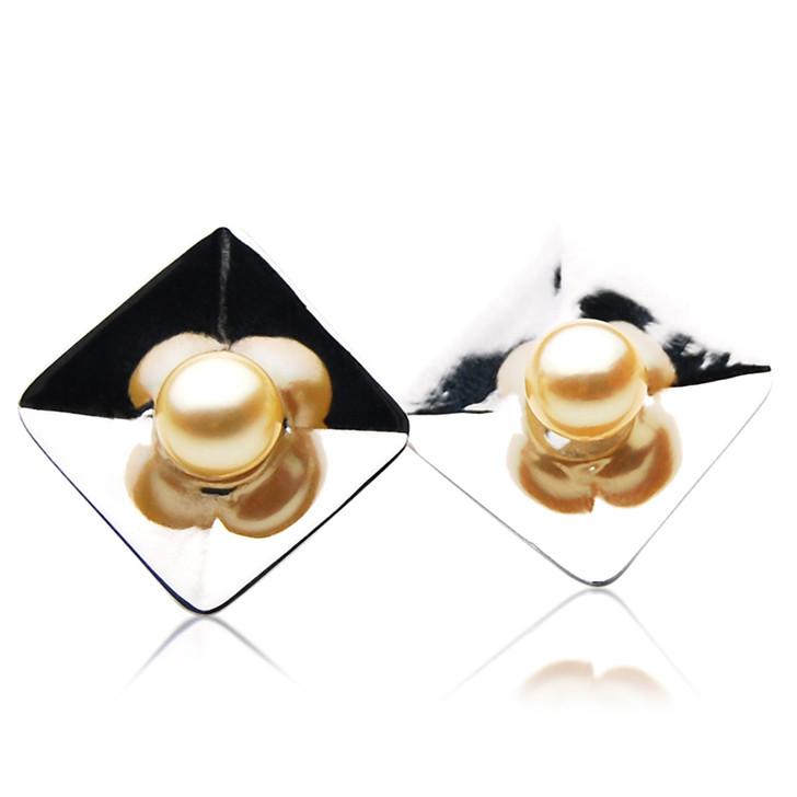 AE066 (AAA 7-7.5mm Golden Japanese Akoya Saltwater Pearl  Earrings In Silver