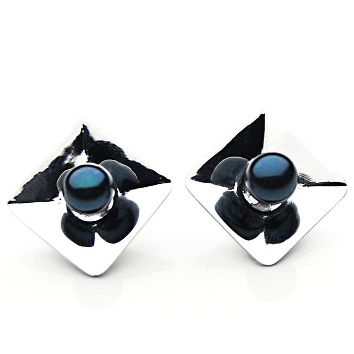 AE067 (AAA 6.5-7mm Black Japanese Akoya Saltwater Pearl Earrings In Silver