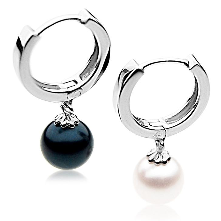 AE070  (AAA 7.5-8 mm Japanese Akoya Saltwater Pearl Earrings In Silver