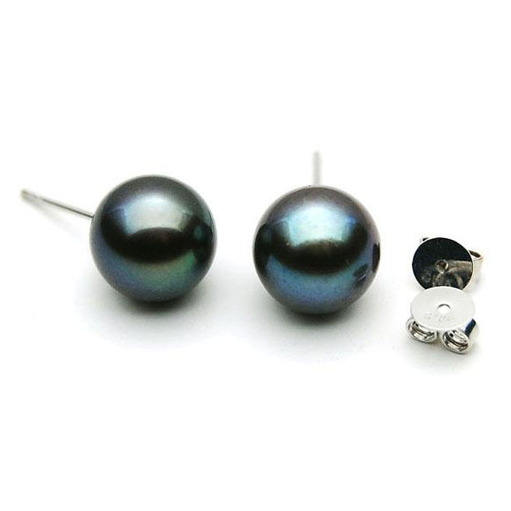 FE003  (AAA 9-10mm Black Freshwater Cultured Pearl  In 18K White Gold)