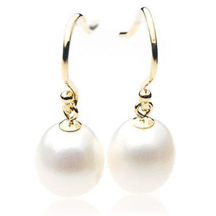 FE011  (AAA 10mm Drop White Freshwater Cultured Pearl  In 18K Gold)