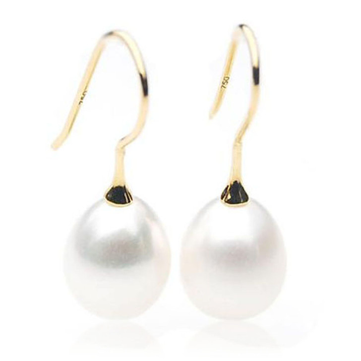 FE013  (AAA 11mm Drop White Freshwater Cultured Pearl  In 18K Gold)