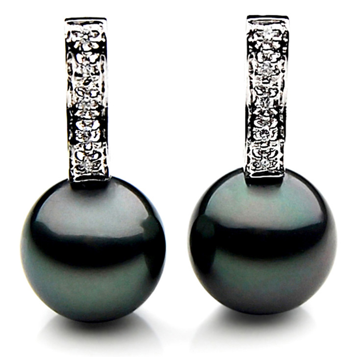 TE054a (AAA 12mm Tahitian Black Pearl  Earrings Diamonds 18k White Gold )