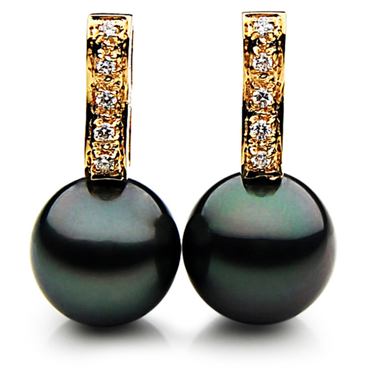TE054b (AAA 12mm Tahitian Black Pearl Diamond Earrings 18k  Gold )