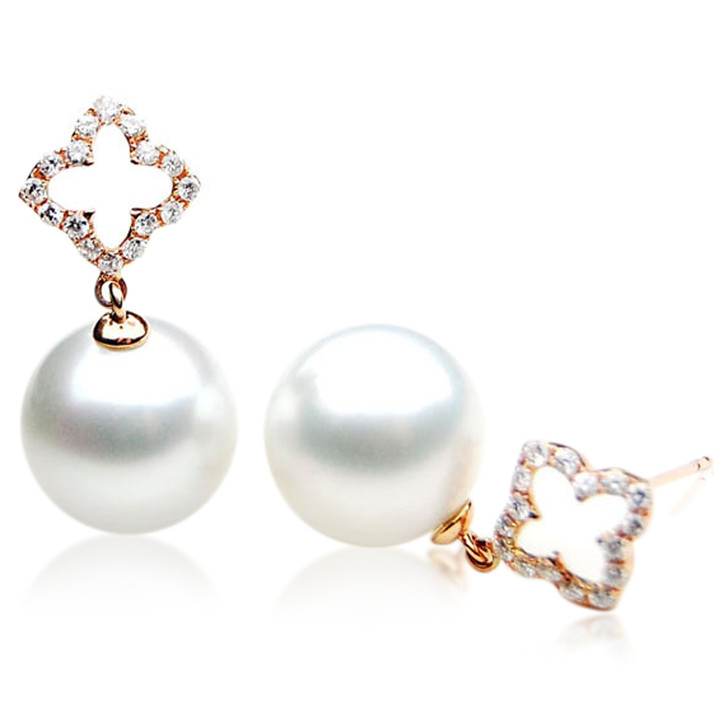 SE071 (AAA 12mm Australian South Sea Pearl Earrings Diamonds 18k Rose Gold)