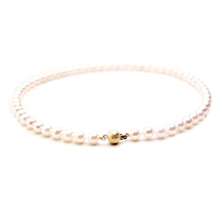 AN008 (AAA 7-7.5mm Japanese Akoya Saltwater Pearl Necklace gold clasp )