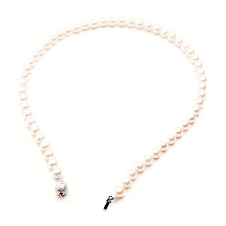 AN011 (AAA 7-7.5mm Japanese Akoya Saltwater Pearl Necklace gold clasp )