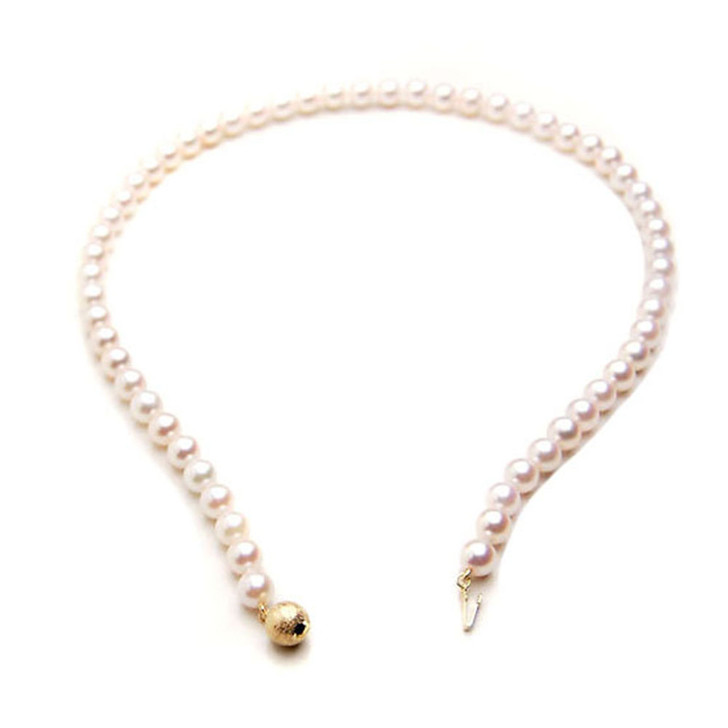 AN012 (AAA 7-7.5mm Japanese Akoya Saltwater Pearl Necklace gold clasp )