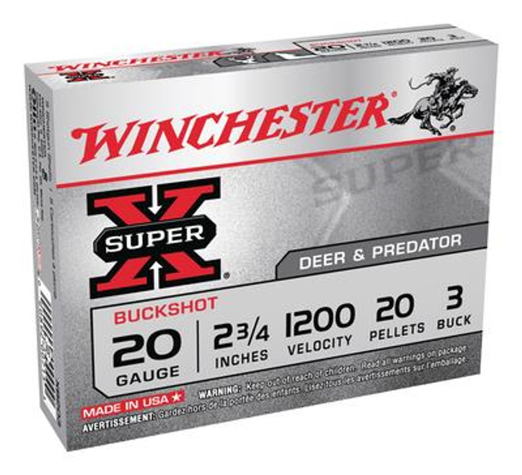 Super-X Buffered Buckshot 20 Gauge 2.75 Inch 1200 FPS 20 Pellets 3 Buck - 020892007154