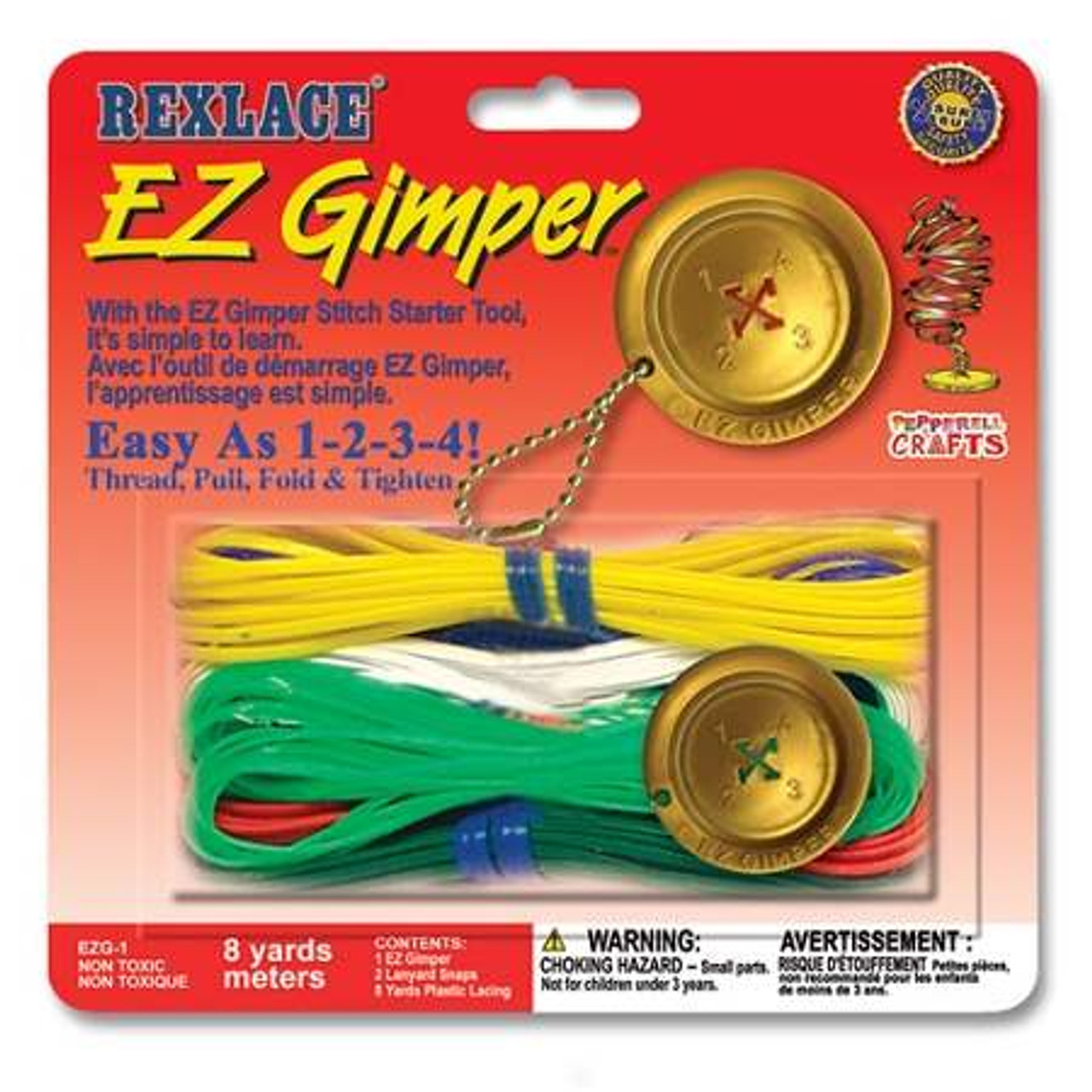 Pepperell Rexlace Cord 450 FT 2 Rings 6 lanyard Snaps EZ Gimper Beading line Kit