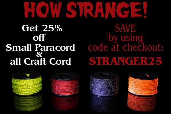Take 25% off Stranger Strings (small paracord & craft cord) using code STRANGER25