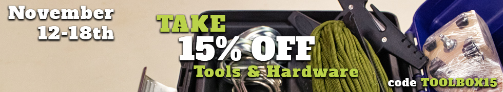 Take 15% off Tools & Hardware using code TOOLBOX15