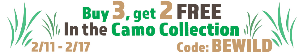 Buy 3, Get 2 Free Camo Collection products using code BEWILD
