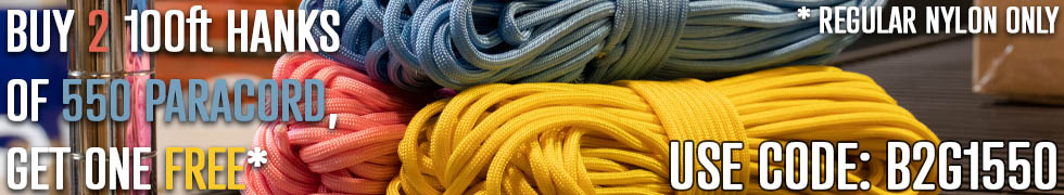 Buy 2 100 foot hanks of 550 paracord and get one free.
