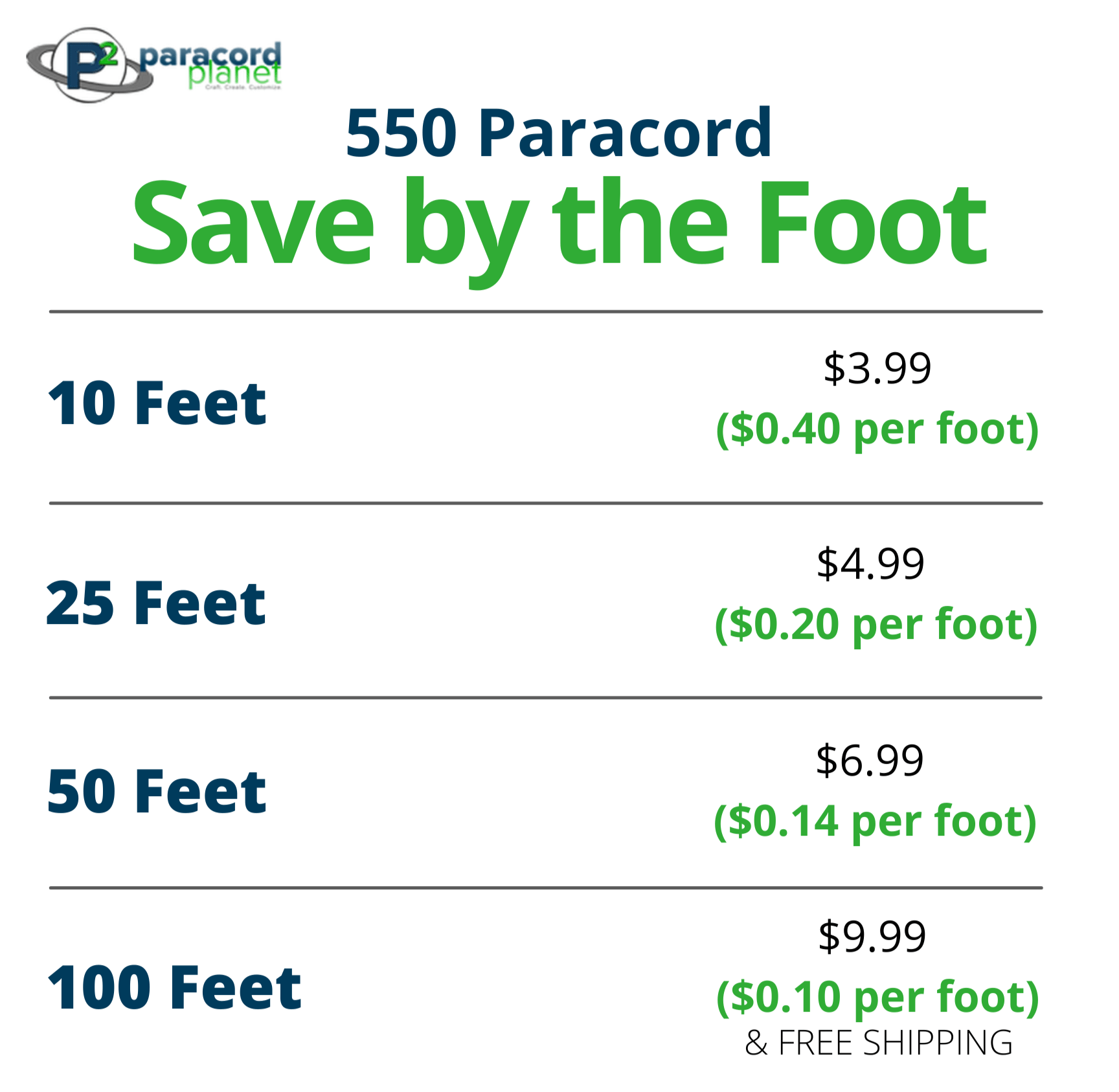 Paracord 550 hanks - White - Save by the foot today