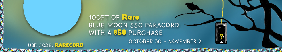 Spend $50, get free 100ft hank of Blue Moon Paracord using code RARECORD