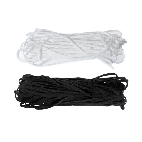 5mm Soft Flat Elastic Cord White Black Paracord Planet