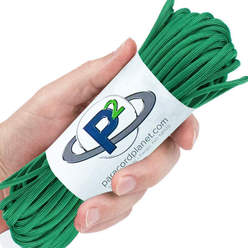 Kelly Green CorelessGutted 550 Paracord 100 Feet Whip Makers Computer Cable Sleeve Flat Hollow Cord