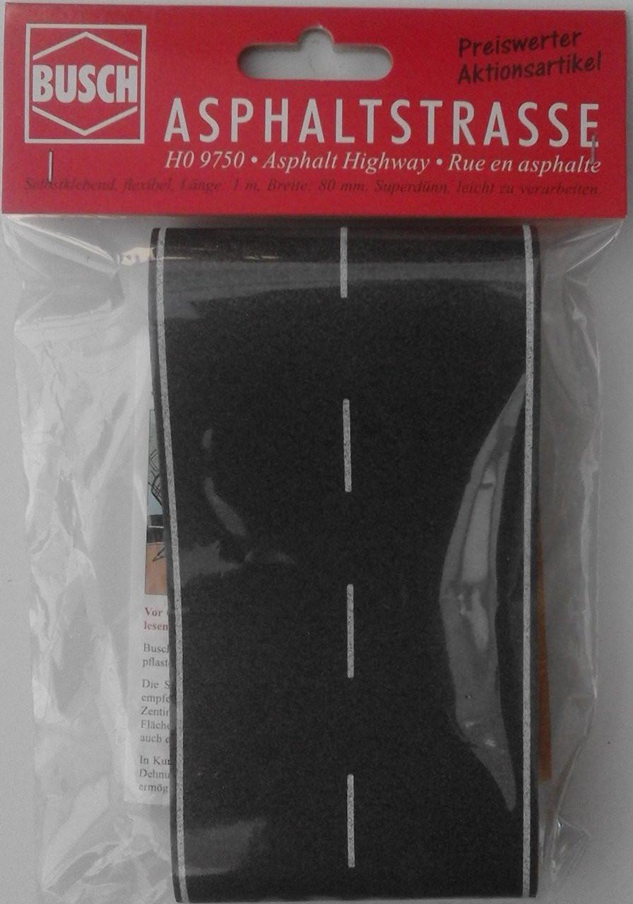 Busch 9750 Self Adhesive OO//HO 1m x 80mm Flexible Tarmac ROAD