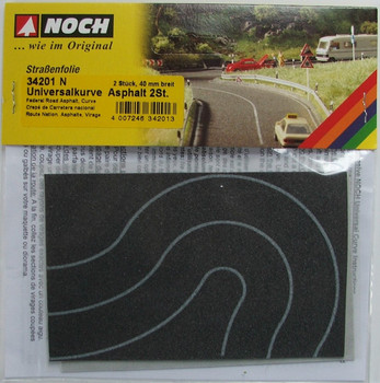 NOCH 34201 Black Self Adhesive Curved Road 40mm 'N' Gauge