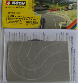 NOCH 34204 Light Grey Self Adhesive Curved Road 40mm 'N' Gauge