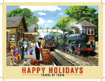 Metal Wall Sign - Happy Holidays - Travel By Train