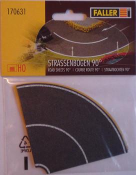 FALLER 170631 90 Degree Self Adhesive Road Bends x 4 00/HO