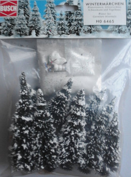 BUSCH 6465 Snowed Trees With Snowman 6cm - 13.5cm (Pack of 10) 00/HO